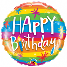 "Birthday Rainbow Stripes Foil Balloon (18"") 1pc"